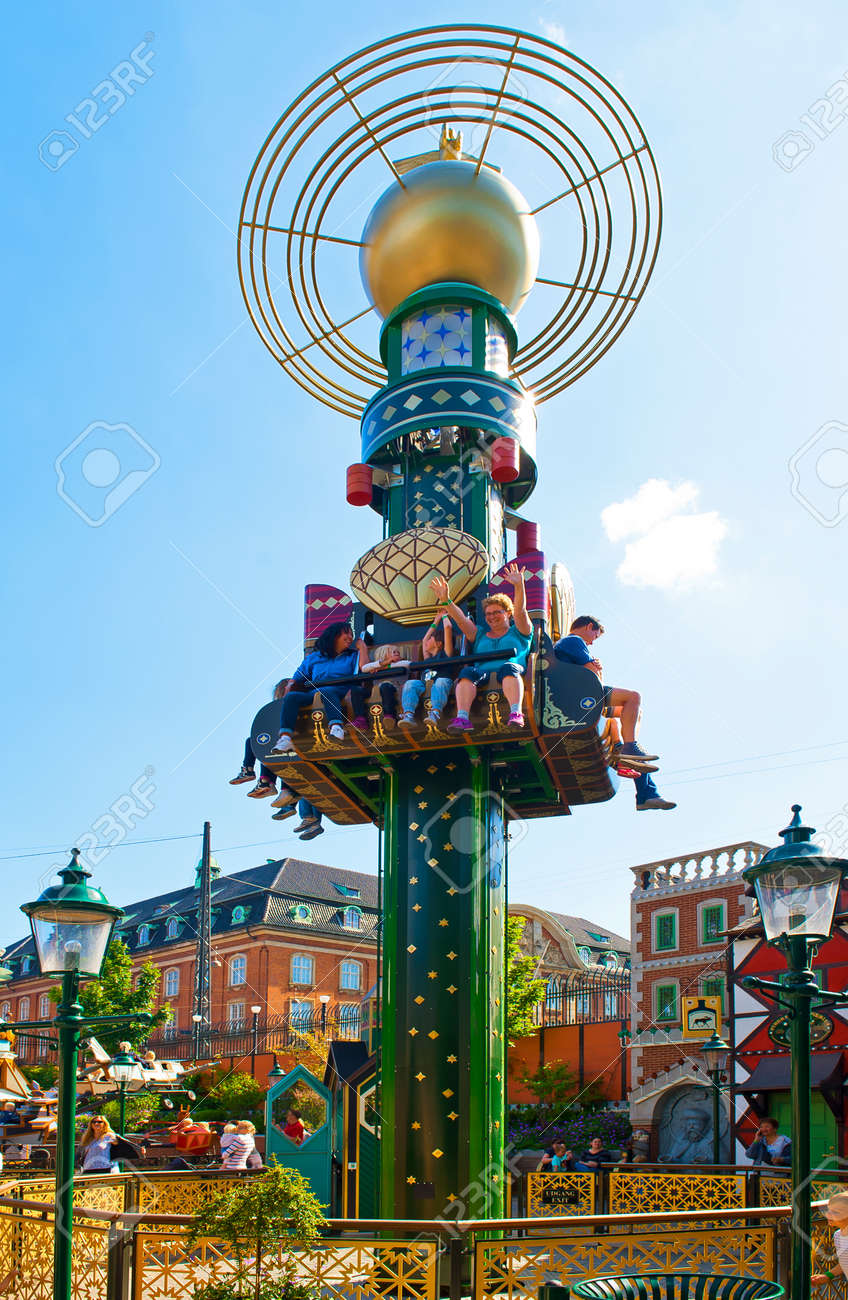 Tivoli Without Rides Copenhagen Denmark June 30 The Star Tower In Tivoli On June