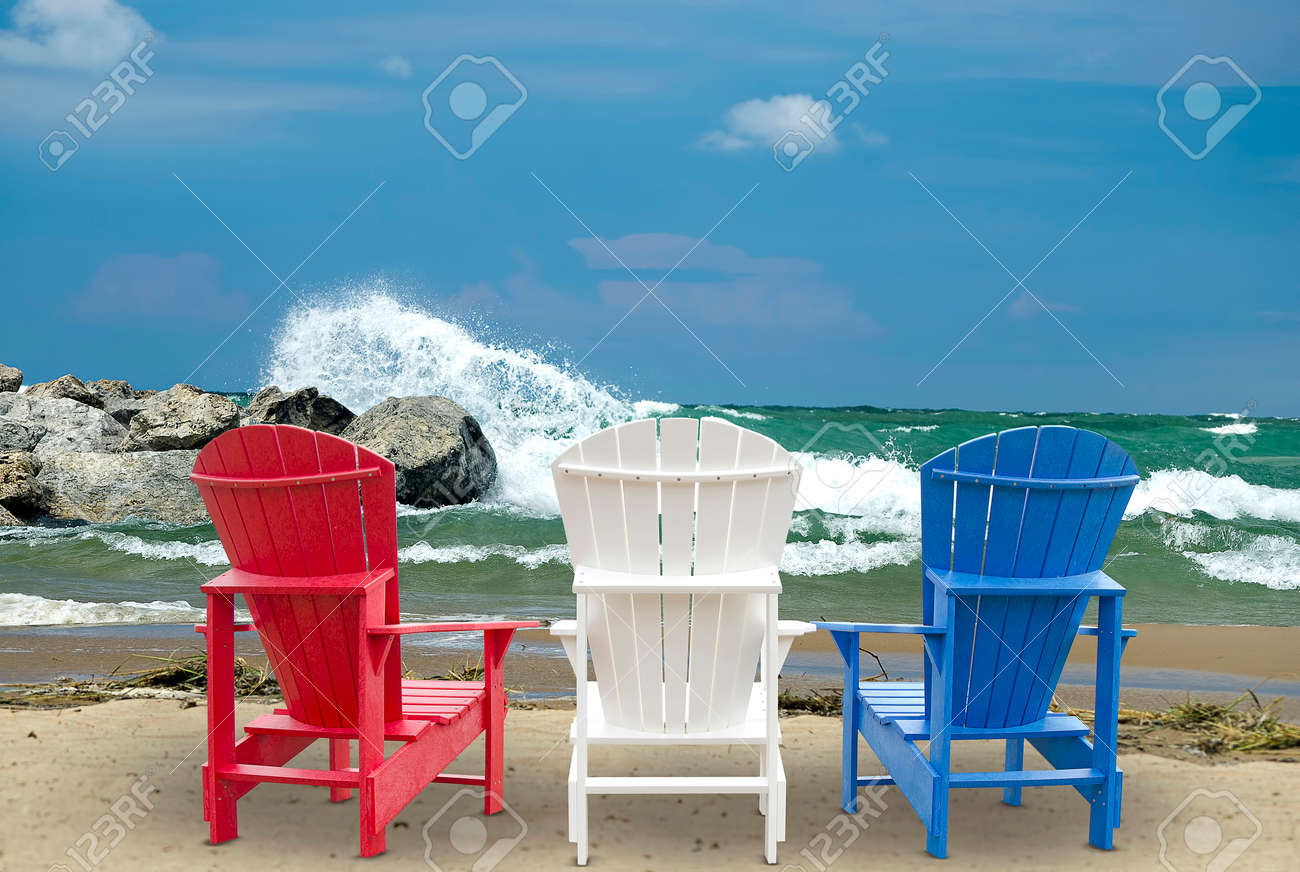 Adirondack Chairs On The Beach With Waves Stock Photo Picture And Royalty Free Image Image 30151564