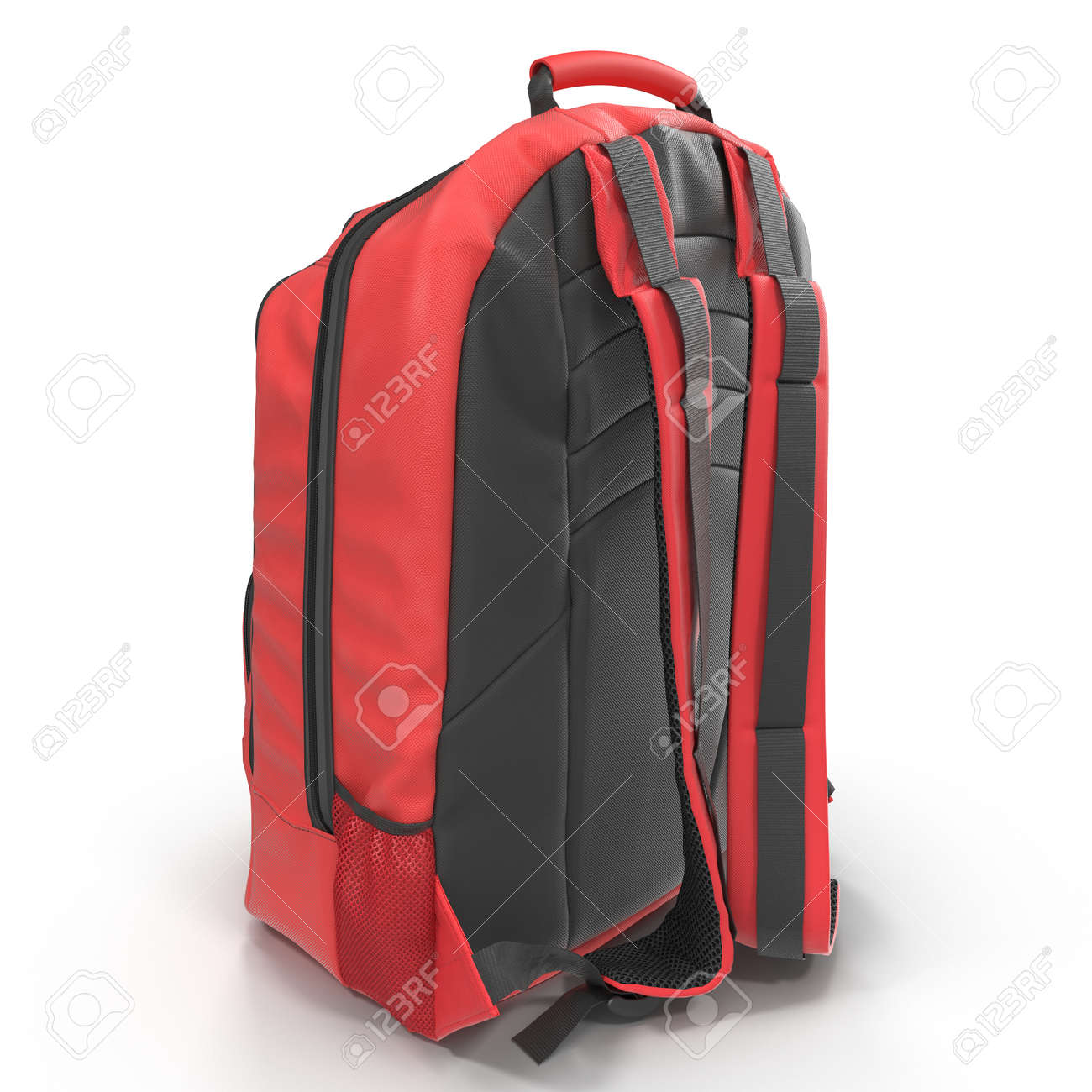 Travel Rucksack Red School Backpack Isolated On White Sport Travel Rucksack Closeup