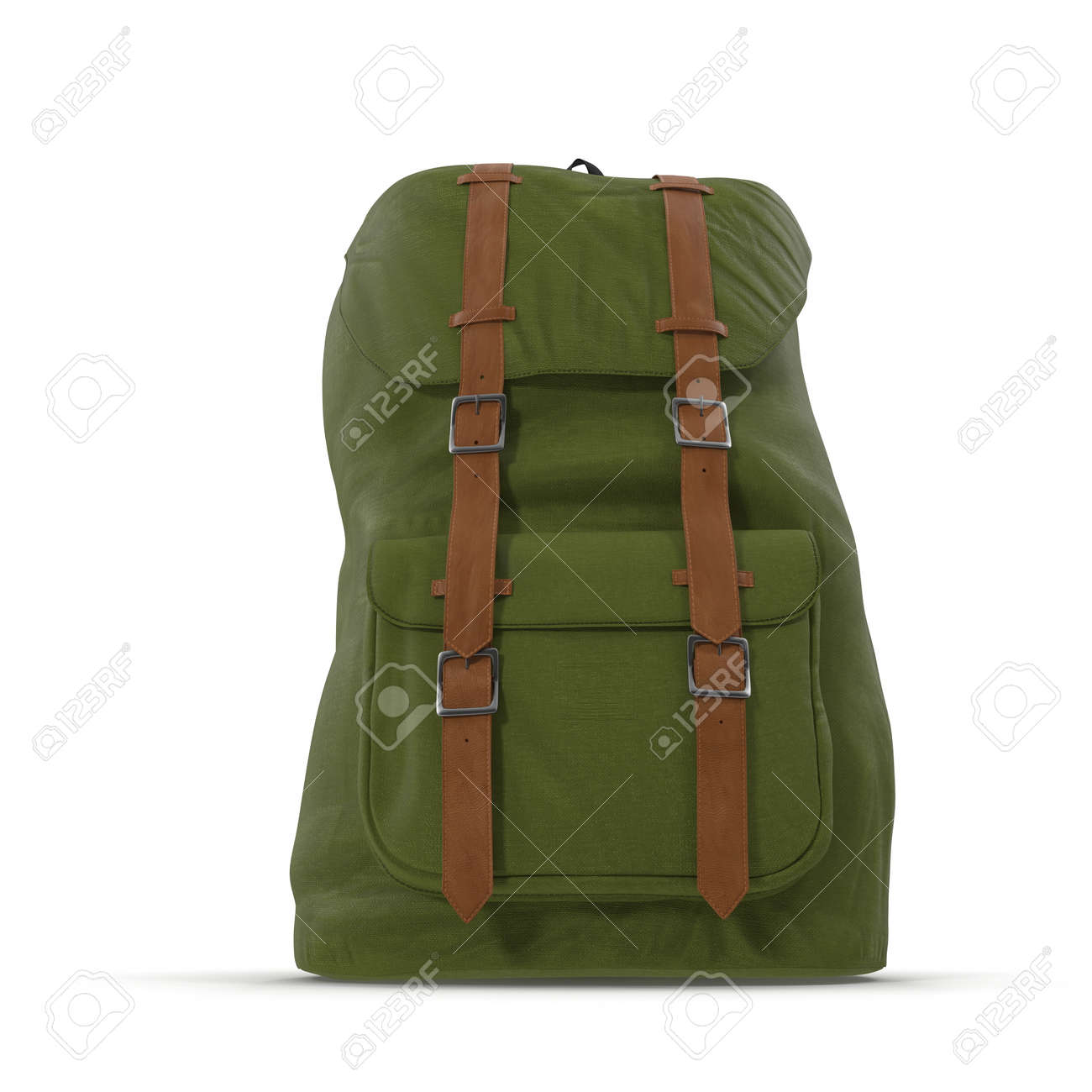 Travel Rucksack Green School Backpack Isolated On White Sport Travel Rucksack