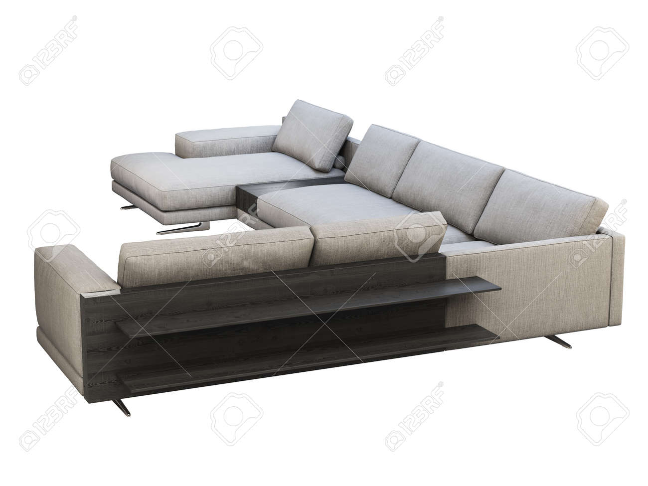 Modern Gray Fabric Corner Sofa With Chaise Lounge Textile Upholstery Stock Photo Picture And Royalty Free Image Image 138174992