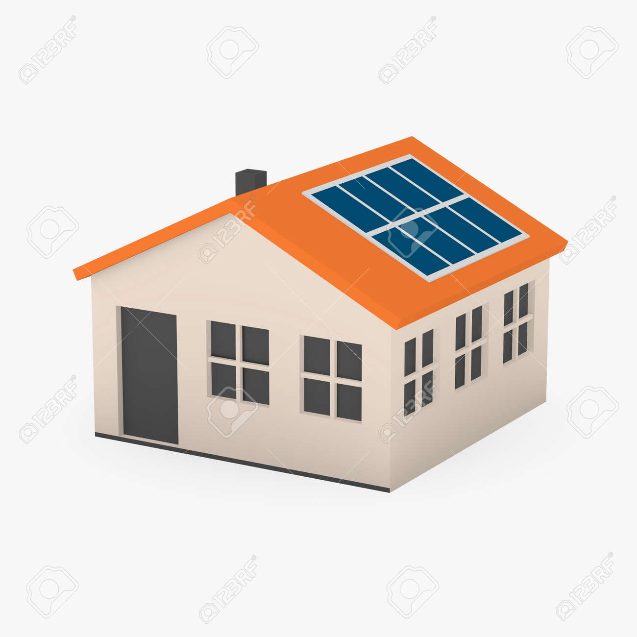 Maison Dessin 3d 3d Render Of Cartoon House With Solar Panels