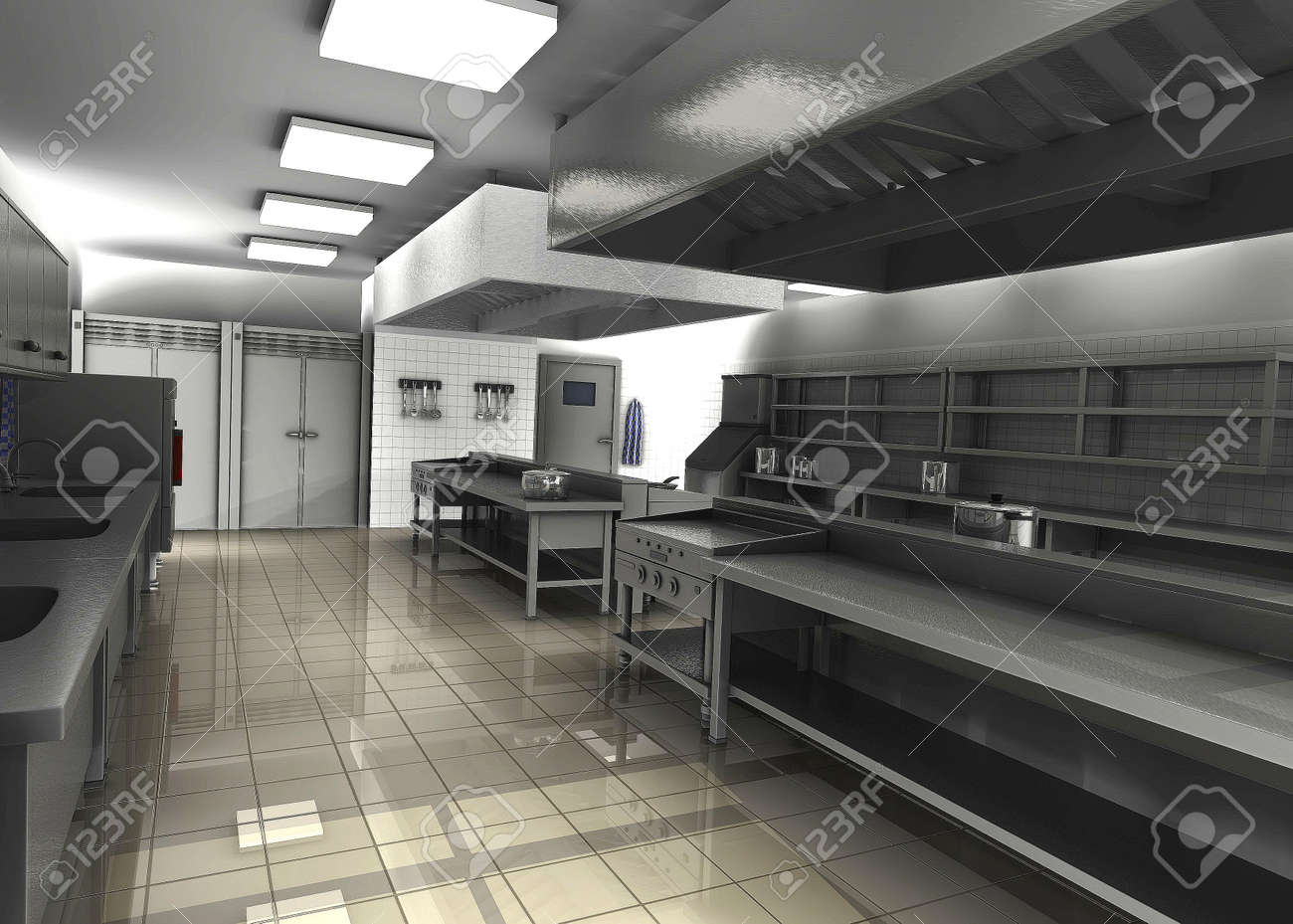 Commercial Kitchen 3d Design 3d Render Of Professional Restaurant Kitchen Stock Photo Picture