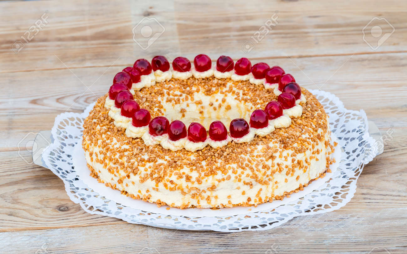 Frankfurter Kuchen Frankfurter Kranz With Cherries On Rustic Wood