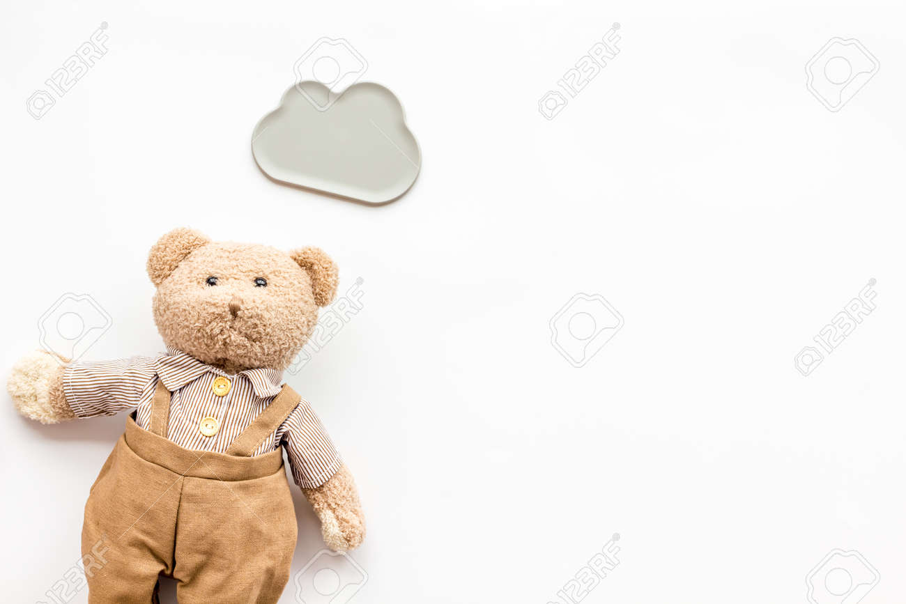 Baby Newborn Teddy Toys For Newborn Baby Set With Teddy Bear And Clouds On White