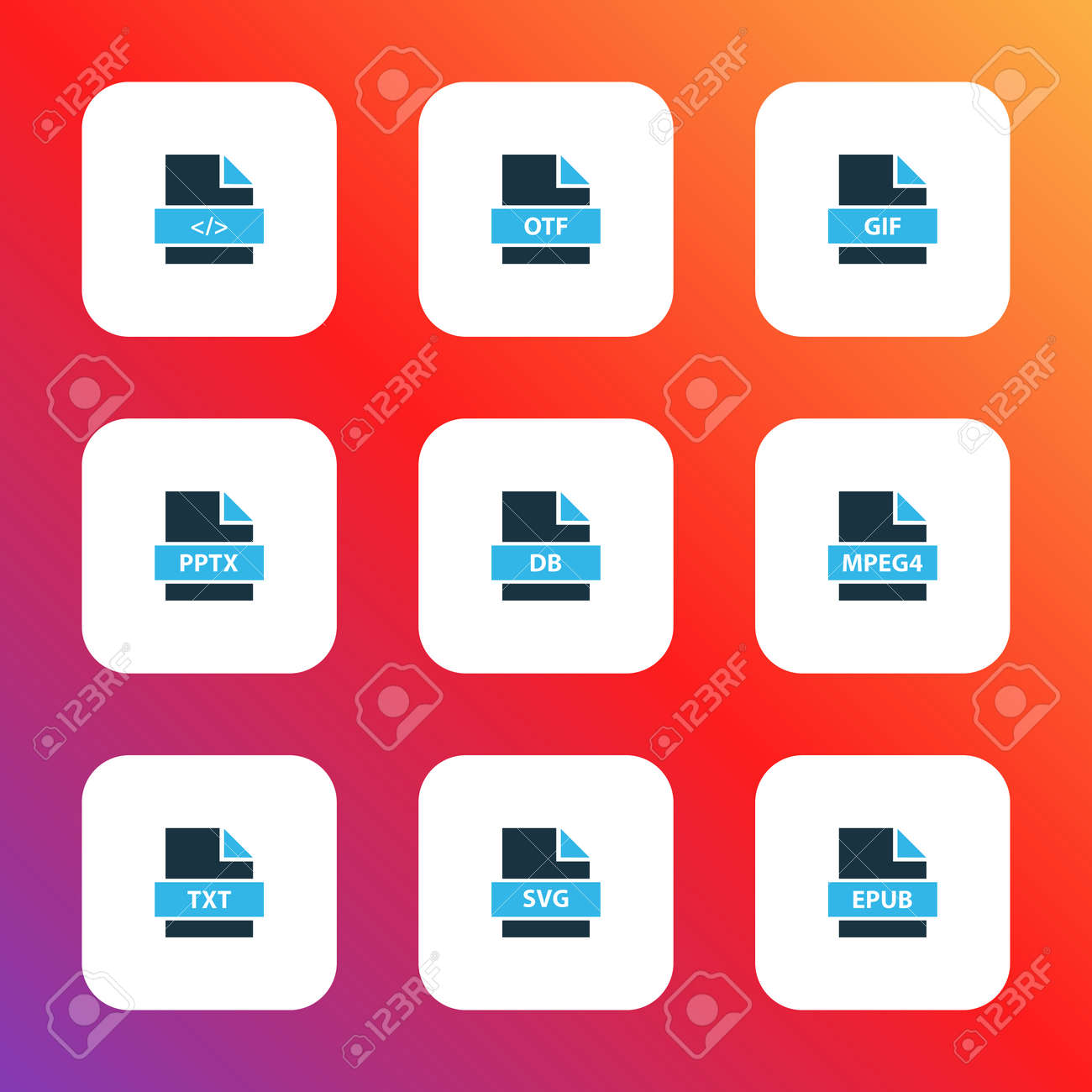 Epub Libres Types Icons Colored Set With File Epub Mpeg4 File File Gif And Other Document Elements Isolated Illustration Types Icons