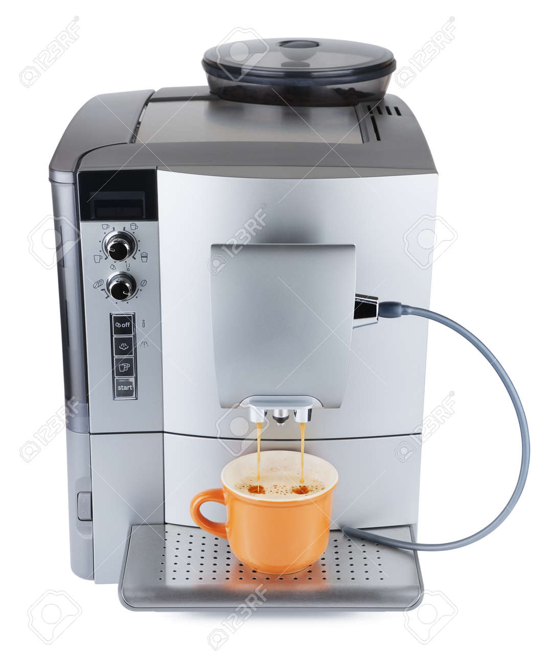 Cappuccino Machine Cappuccino Machine With Cup Of Coffee Isolated On White