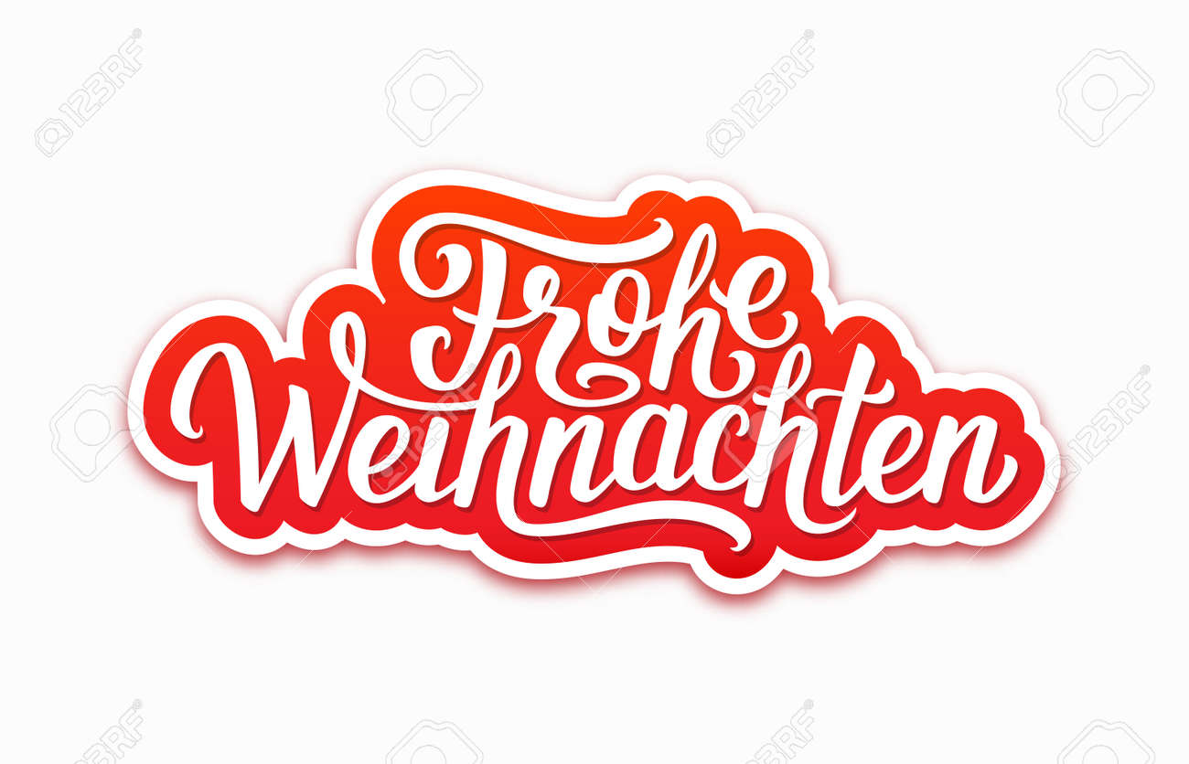 Design Weihnachten Frohe Weihnachten Deutsch Text On Paper Label With Hand Lettering