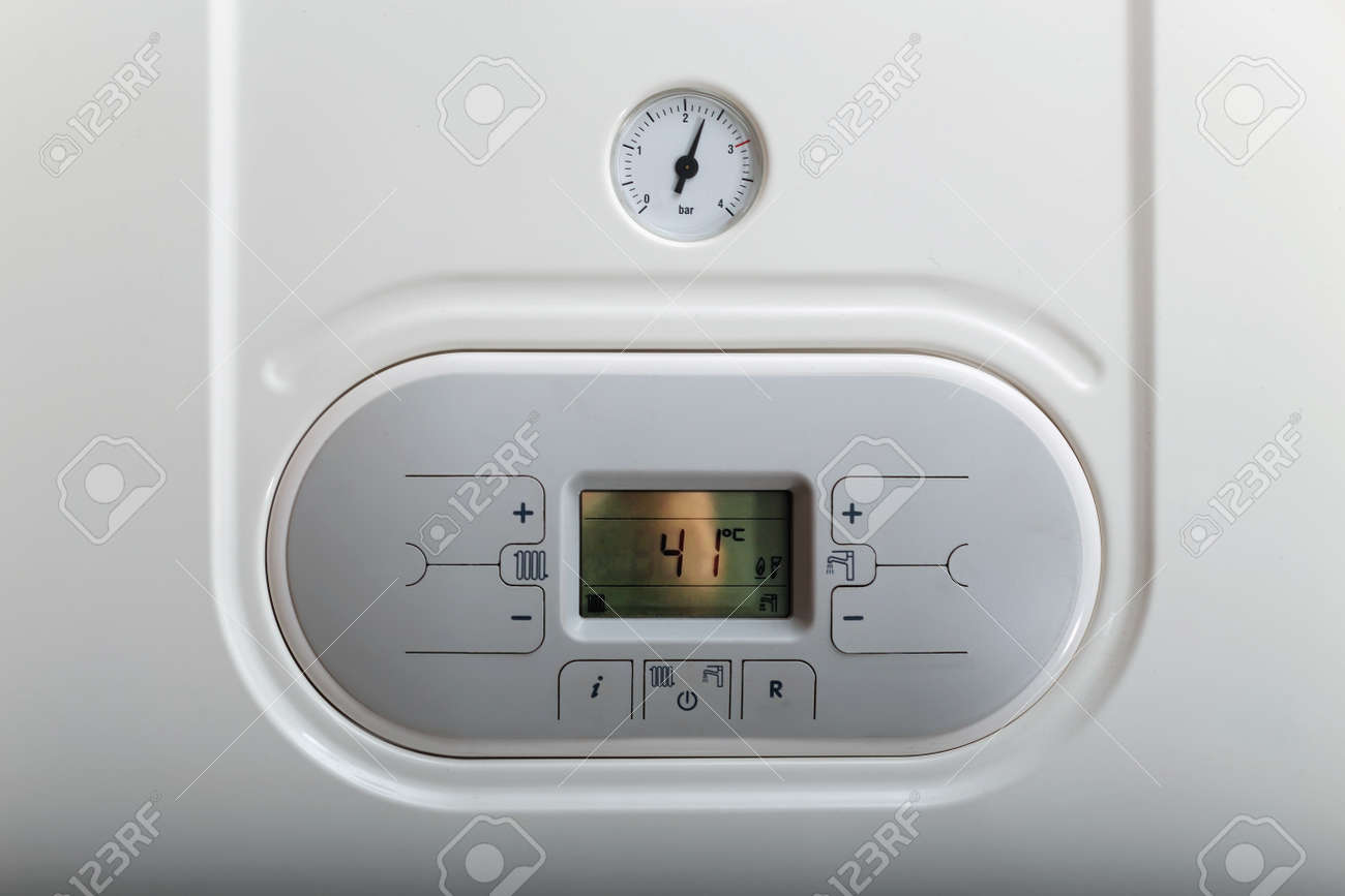 Closein Boiler White Gas Boiler Panel With Manometer Close Up