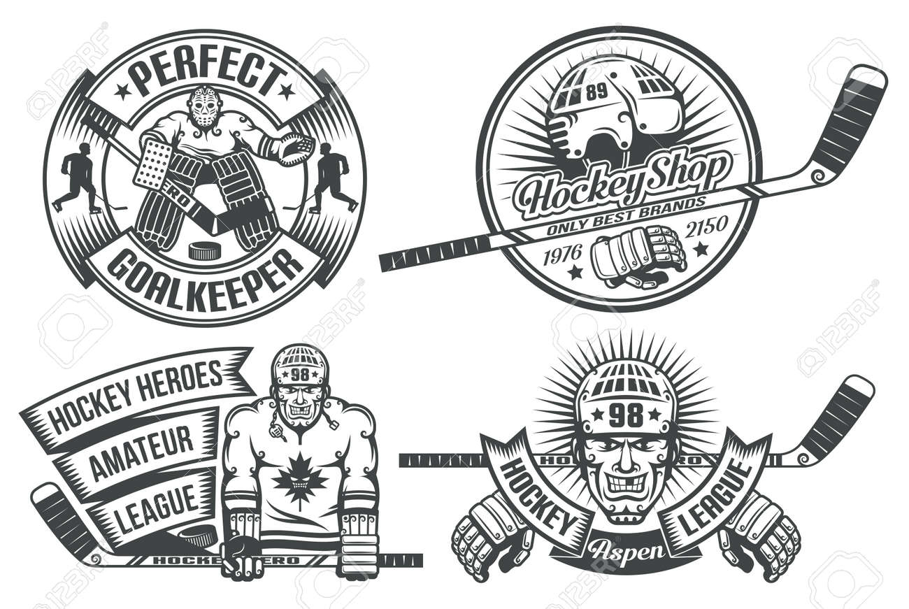 Hockey Logos Hockey Logos With The Goalkeeper And Hockey Players In Vintage