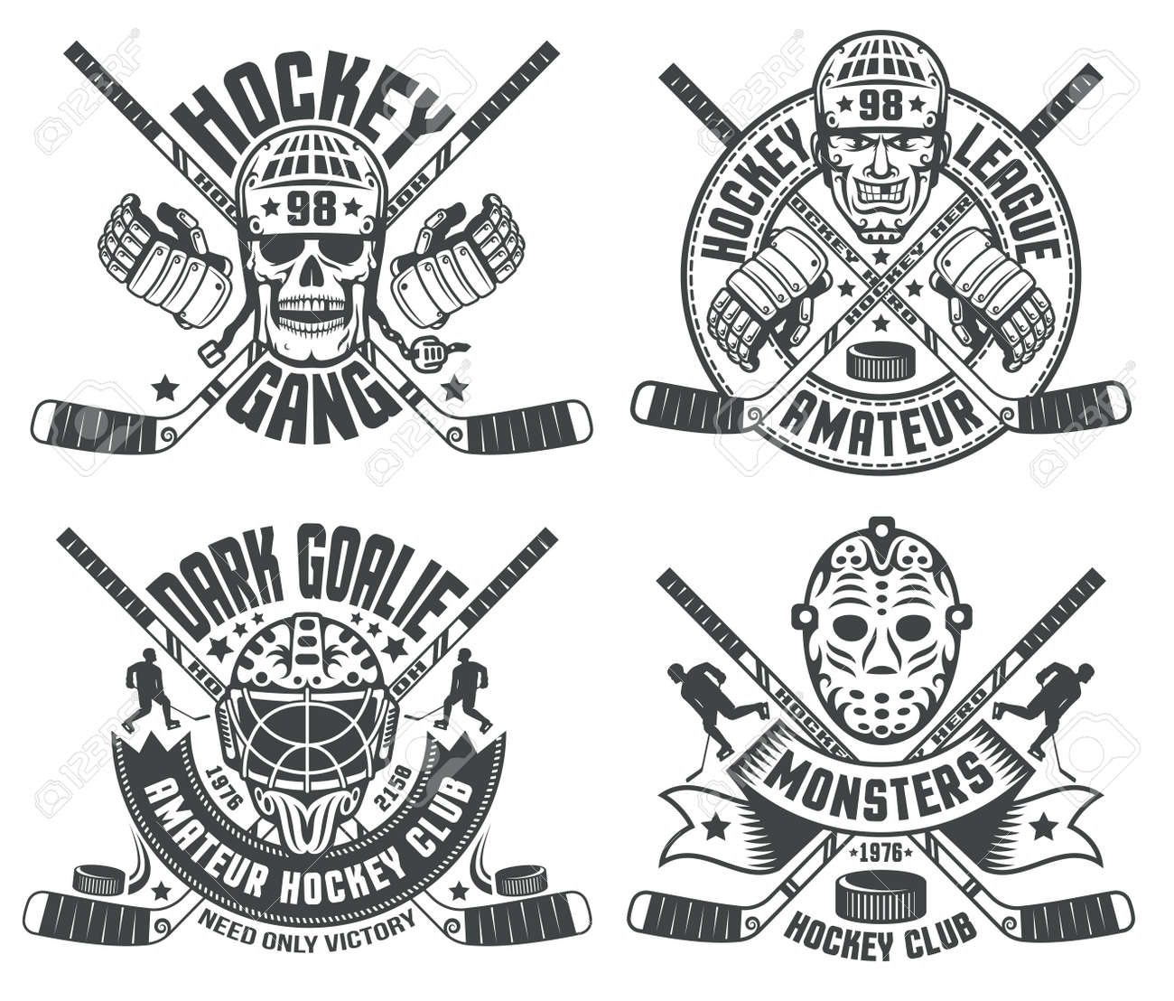 Hockey Logos Hockey Logos With Helmets Goalie Masks Sticks Hockey Gauntlet