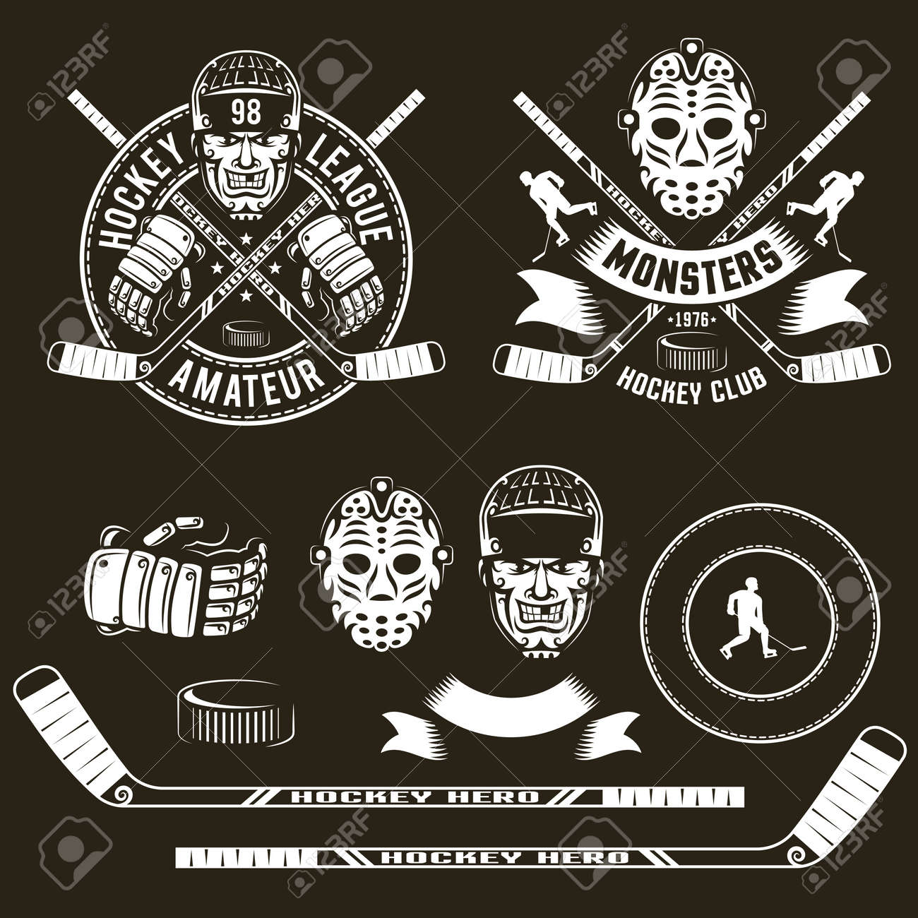 Hockey Logos Hockey Logos Player Head Goalie Mask Crossed Sticks And Hockey