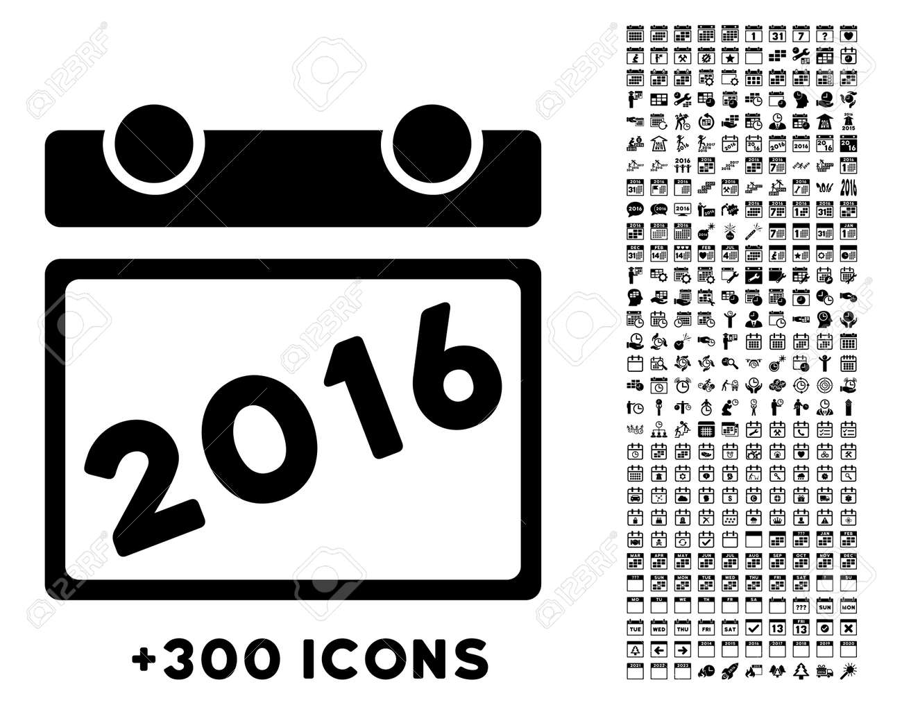 Organizer 2016 2016 Organizer Vector Pictogram With Additional 300 Date And