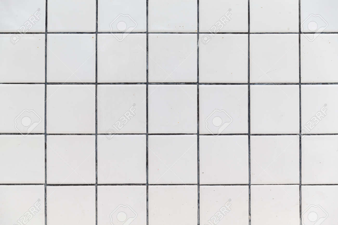 Wall Grid White Tiles Wall With Black Grid Line Background Texture