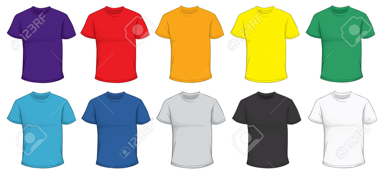 Vector Illustration Of Blank Men\u0027s T-shirt Template In Many Color - t shirt template