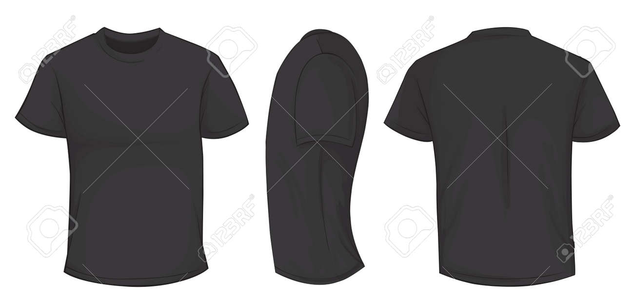 Vector vector illustration of blank black men t shirt template front side and back design isolated on white
