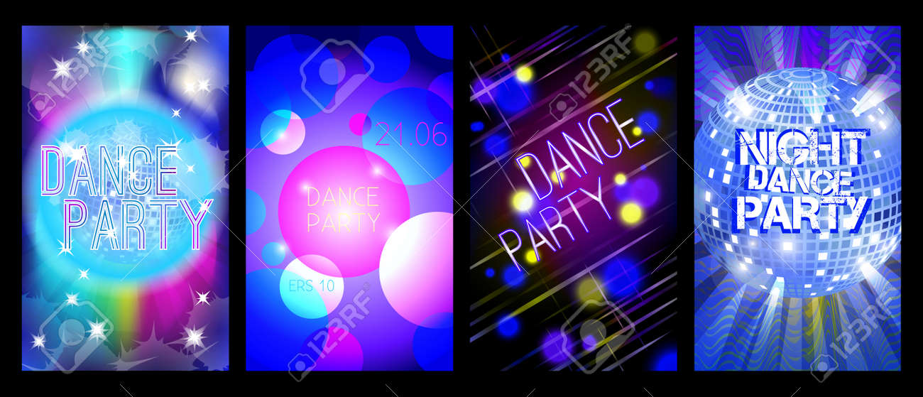 Dance Party Flyers Set, Musical Backgrounds, Vector, Eps 10 Royalty