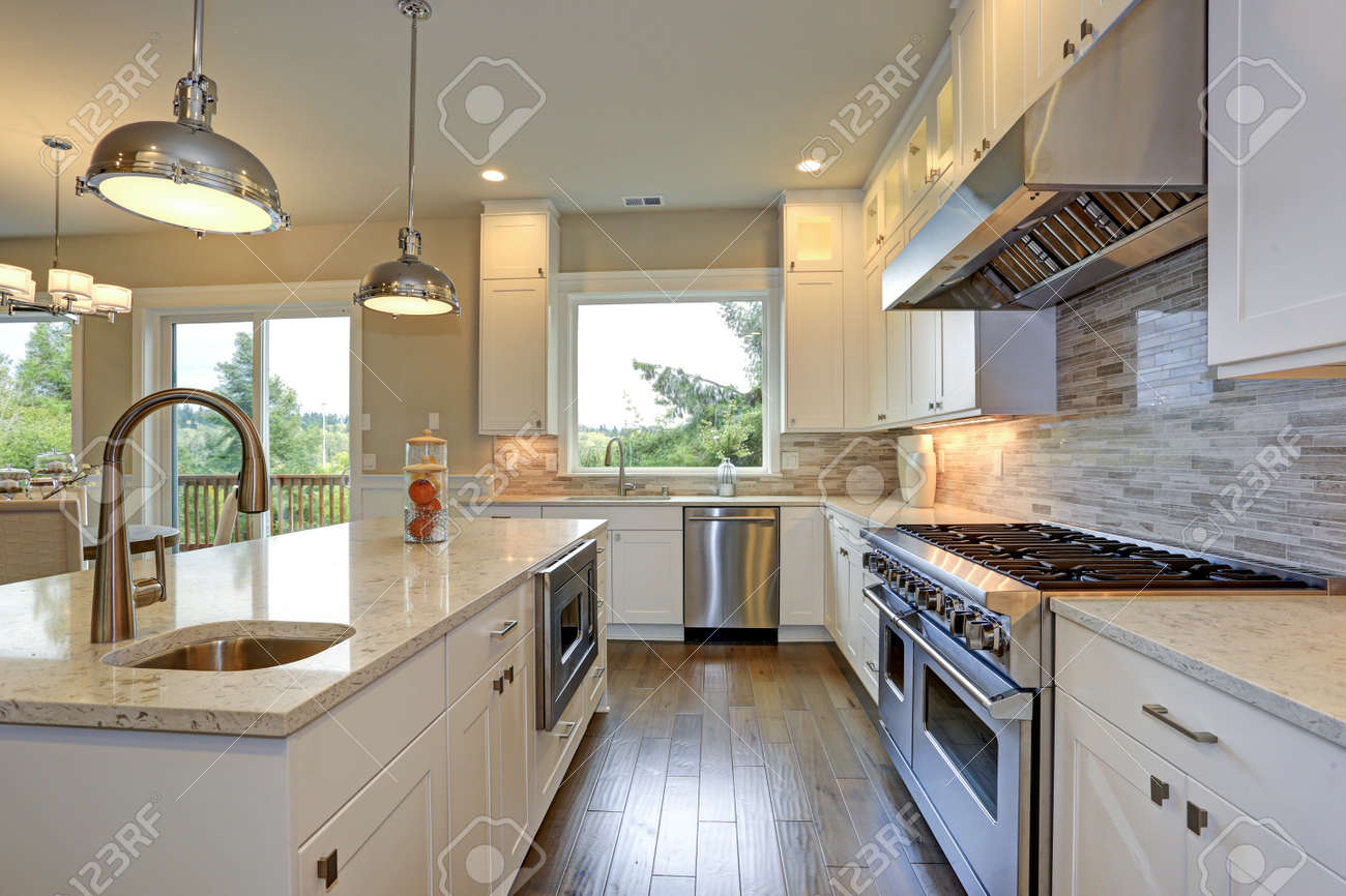 High End Kitchen Design Images Amazing White Kitchen Design With White Shaker Cabinets Paired
