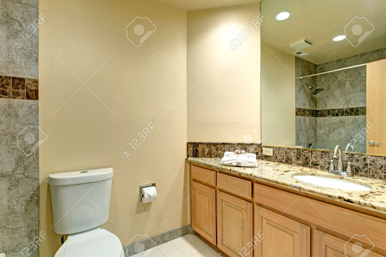 Neutral Bathroom Design With Green Marble Tile Shower Surround Stock Photo Picture And Royalty Free Image Image 91635213