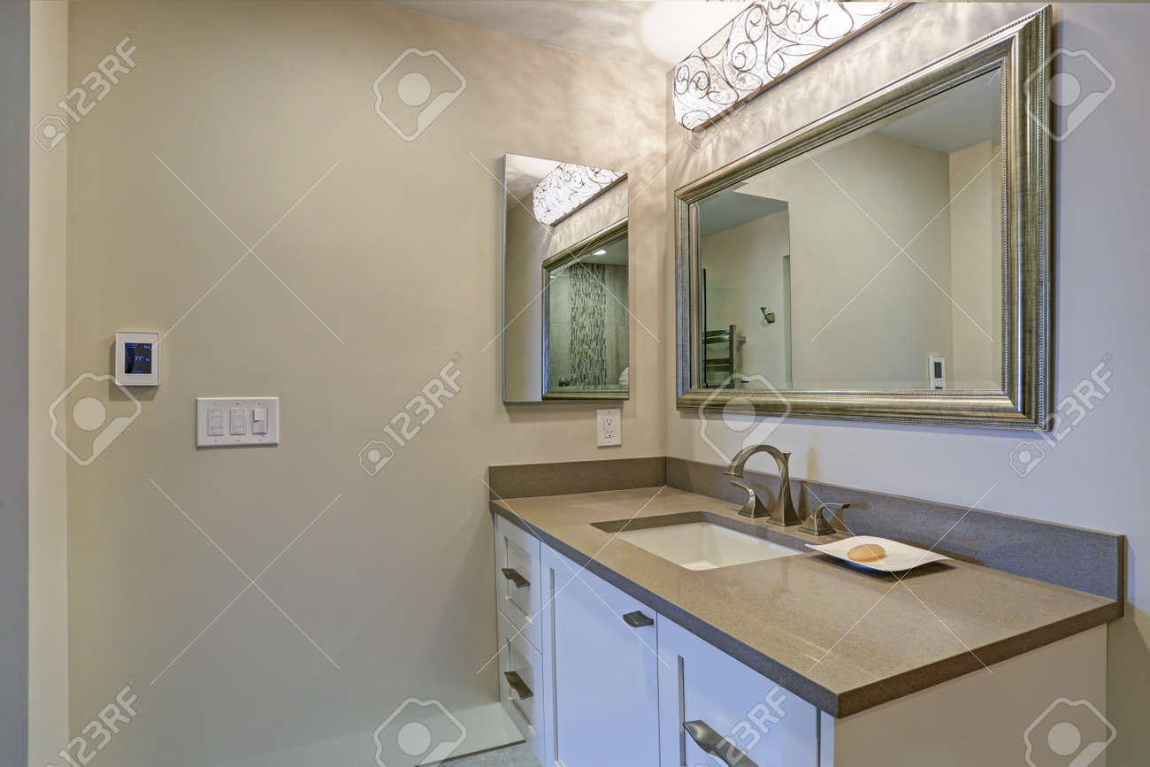 Taupe Quartz Countertop Contemporary Bathroom Design Boasts White Bathroom Cabinet With