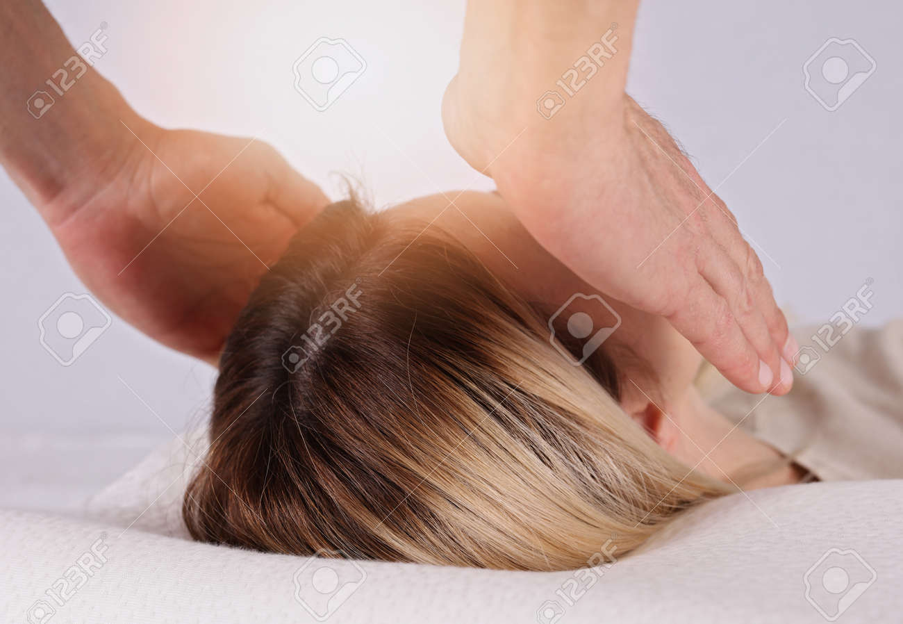 Healing Treatment Attractive Young Woman Having Reiki Healing Treatment Alternative