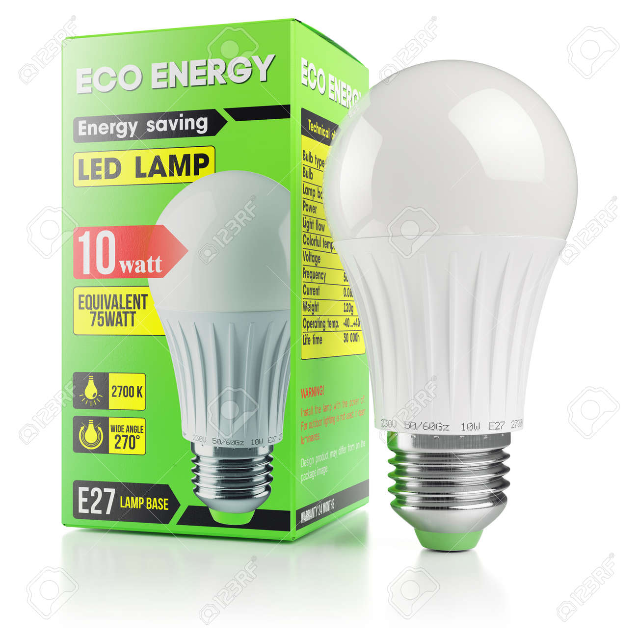 Led Verlichting 50 Lampjes Energy Savings Modern Led Lamp In Packing Box Isolated On White