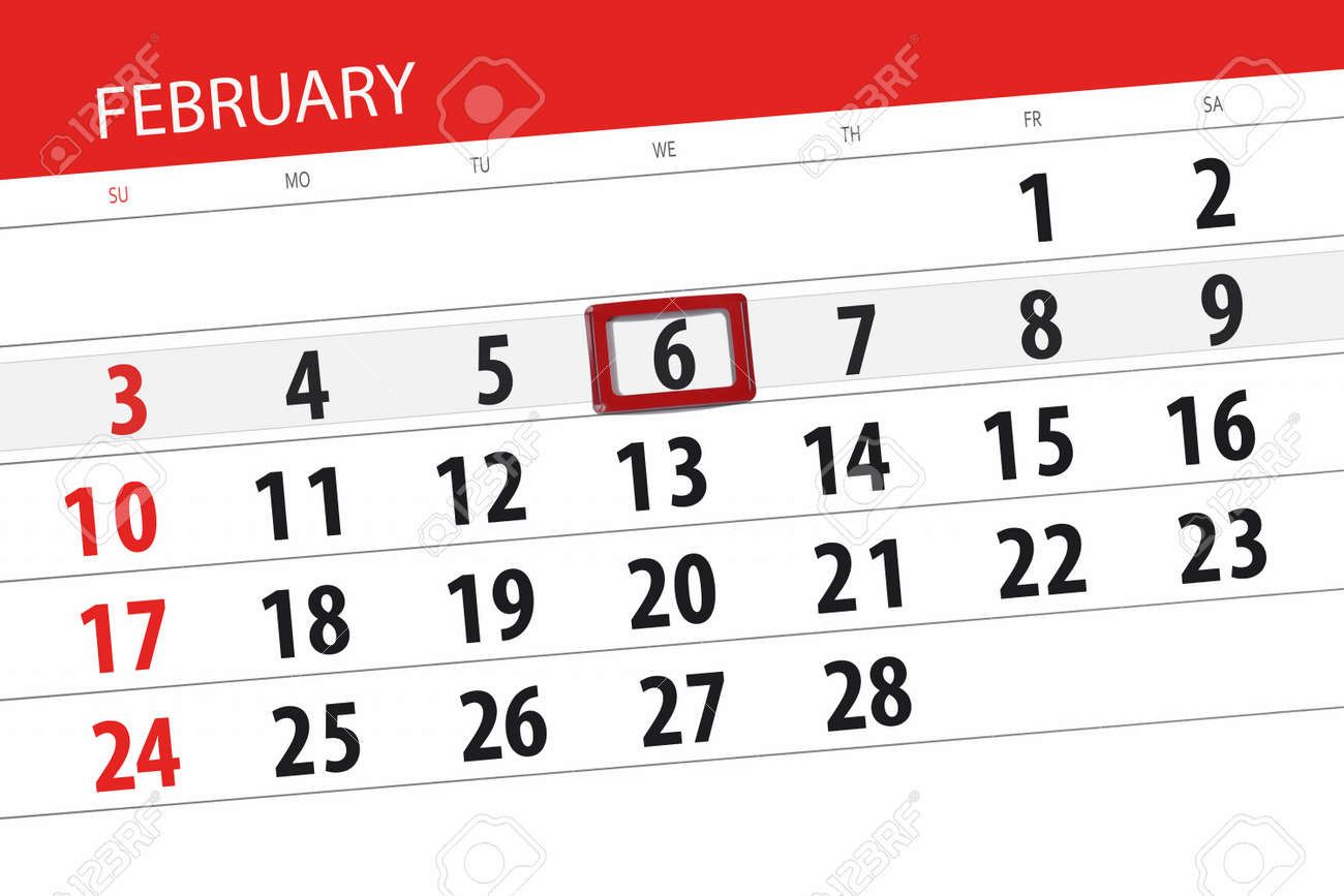 Wednesday 6 February 2019 Calendar Planner For Month February 2019 Deadline Day 6 Wednesday