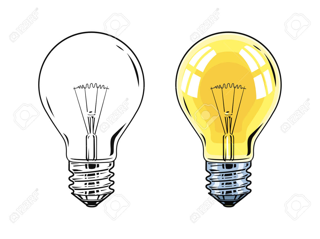 Glass Lamp Vector Shining Electric Bulb Light Glass Lamp Vector Illustration