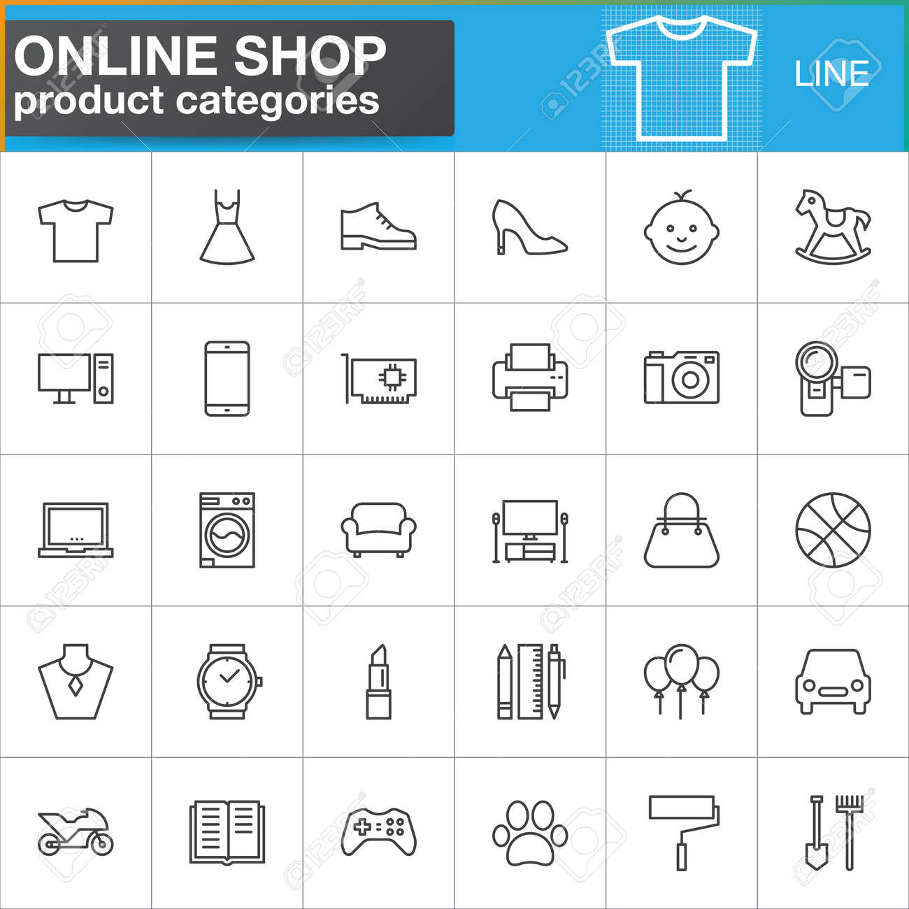 Online Pack Online Shopping Product Categories Line Icons Set Outline Vector