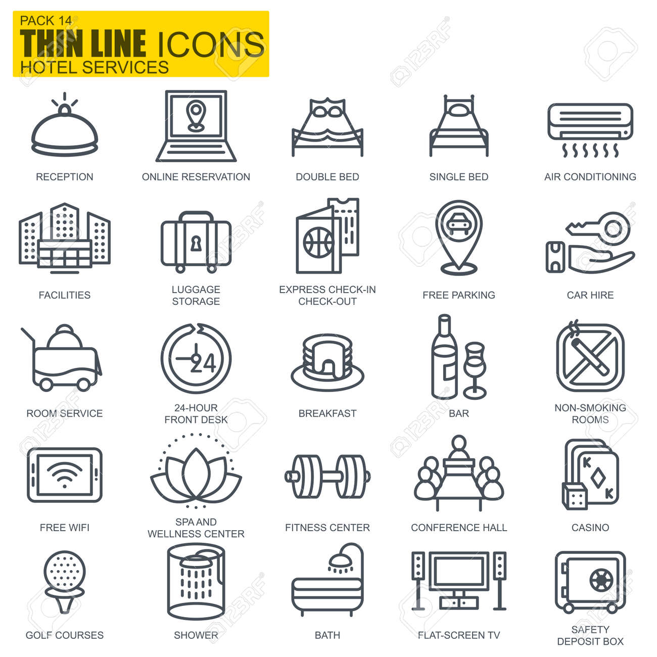 Booking Site Thin Line Hotel Services And Facilities Online Booking Icons
