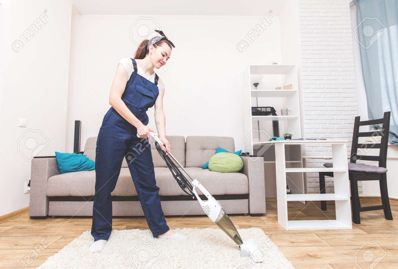 Sofa Service Cleaning Service With Professional Equipment During Work Professiona
