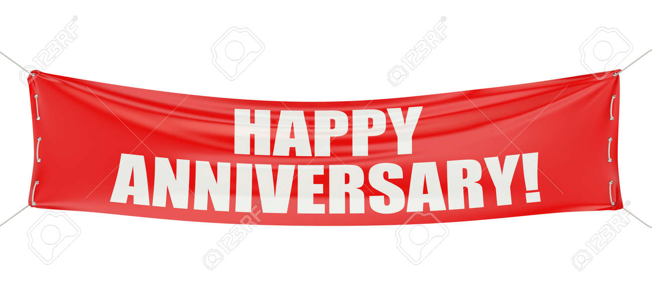 Happy Anniversary! Red Banner Isolated On White Background Stock