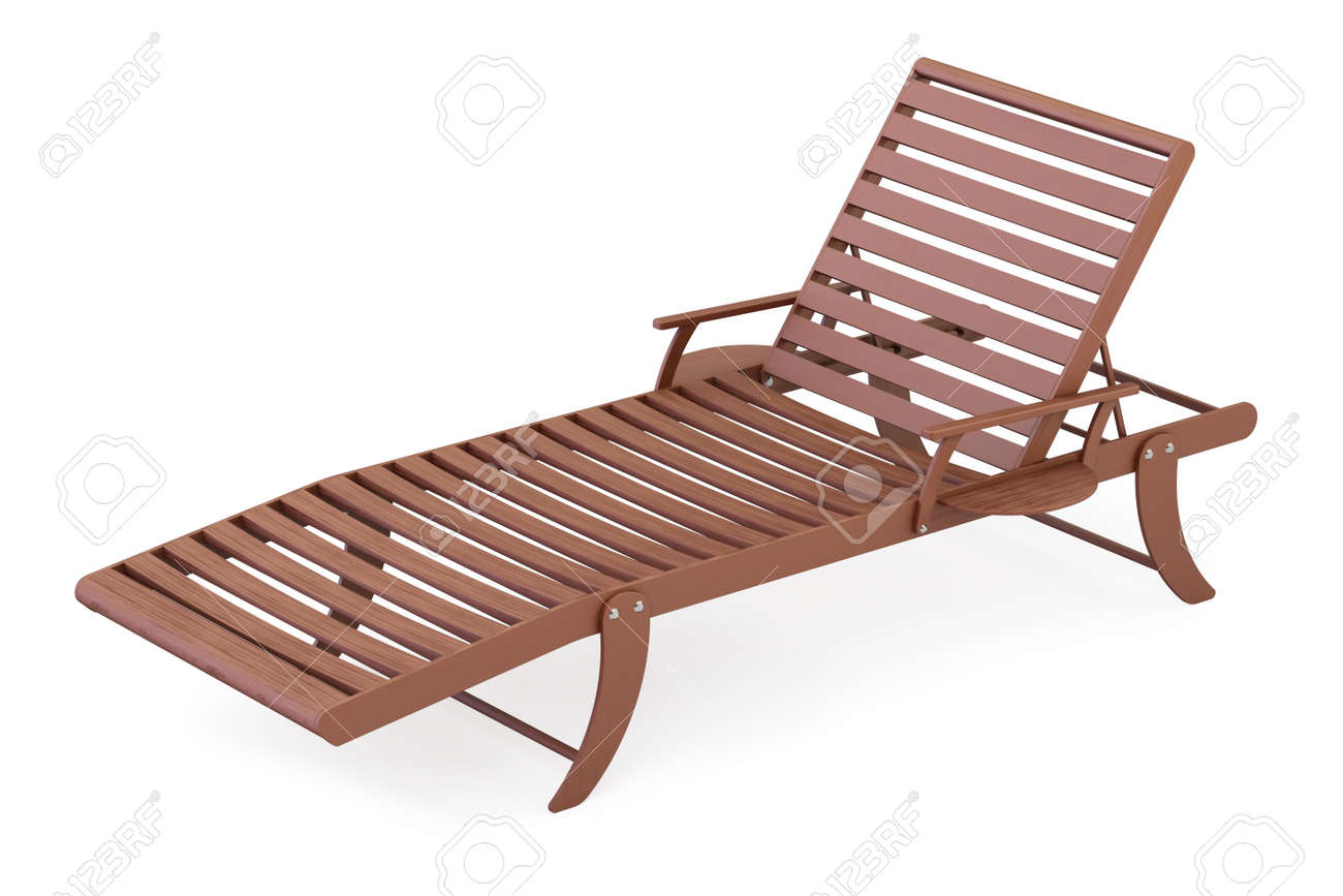 White Plastic Sun Loungers Wooden Sun Lounger Closeup 3d Rendering Isolated On White Background