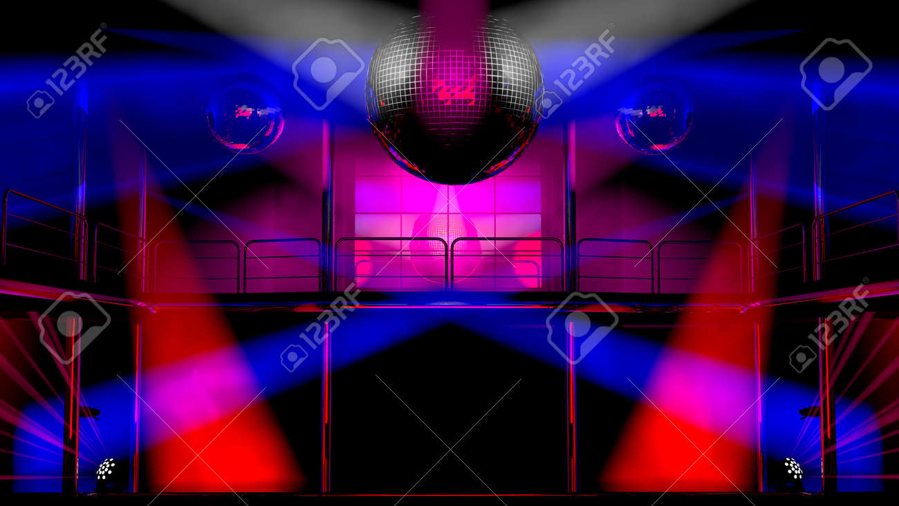 Discotheek Interieur Night Club Interior With Colorful Spot Lights And Shining Mirror