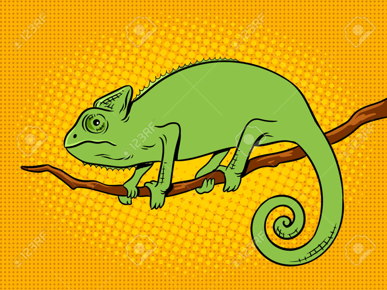 Chameleon Style Chameleon Animal Pop Art Retro Vector Illustration Color Background