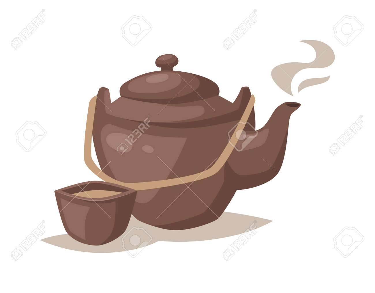 Teapot With Cup Cartoon Teapot Cup And Kitchen Cartoon Teapot Relax Equipment