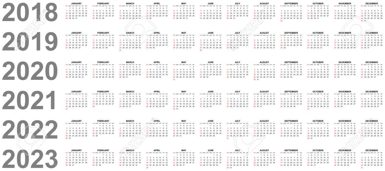 Simple Editable Vector Calendars For Year 2018 2019 2020 2021