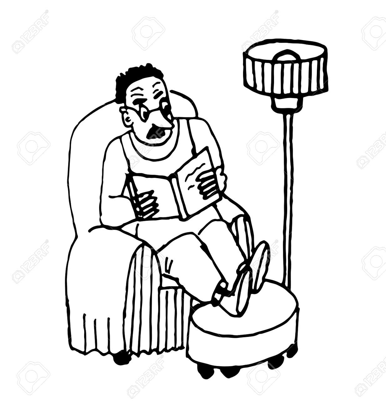 Man sitting in chair drawing - Download