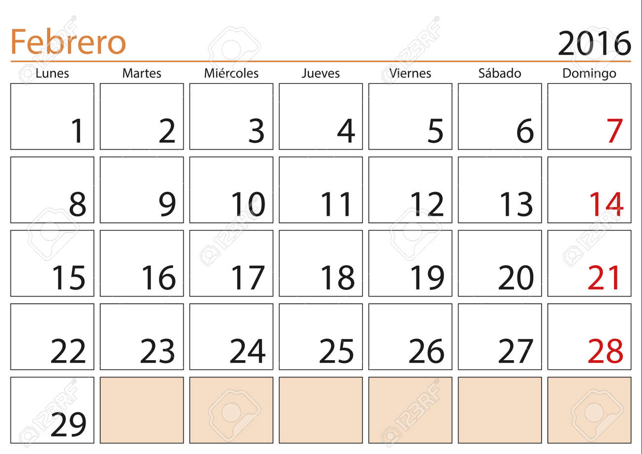 Calendario Del Mes De Febrero February Month In A Year 2016 Calendar In Spanish Febrero 2016