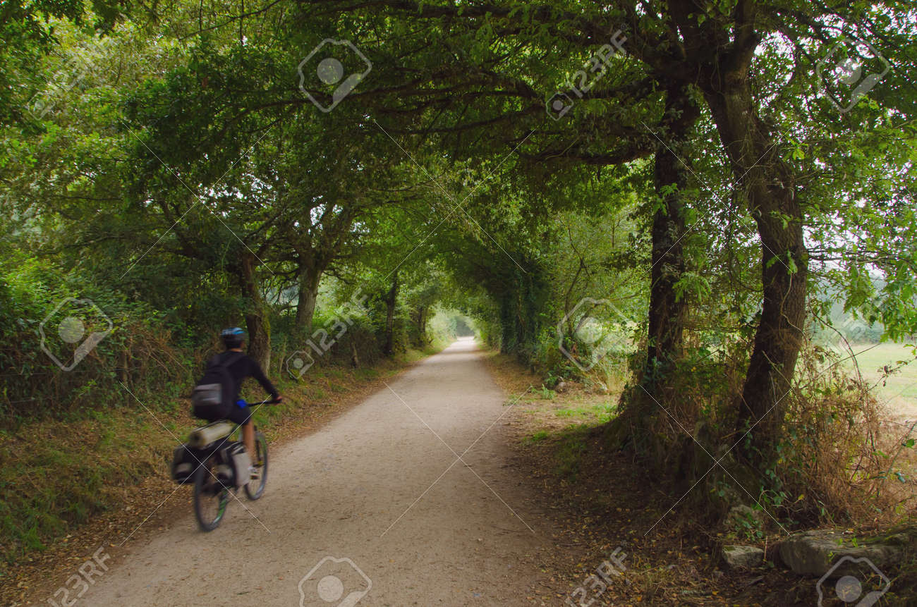 Camino Frances Fahrrad Stock Photo