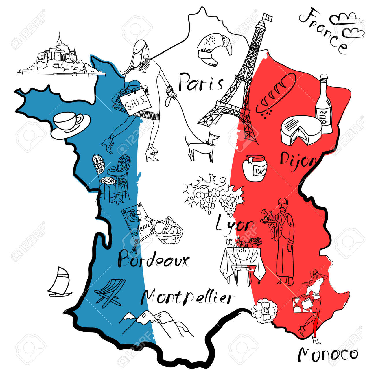 Regions De France Stylized Map Of France Things That Different Regions In France