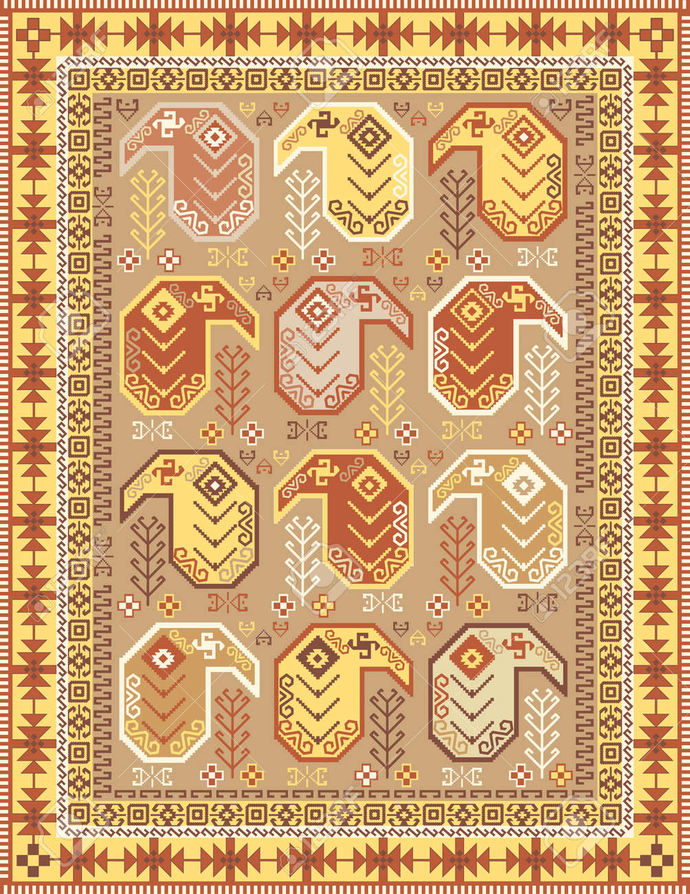 Tapis Style Kilim Kilim Style Carpet Design In Soft Colors With Traditional Boteh