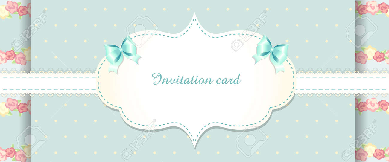 Cute Blue And Pink Invitation Card Shabby Chic Romantic Style
