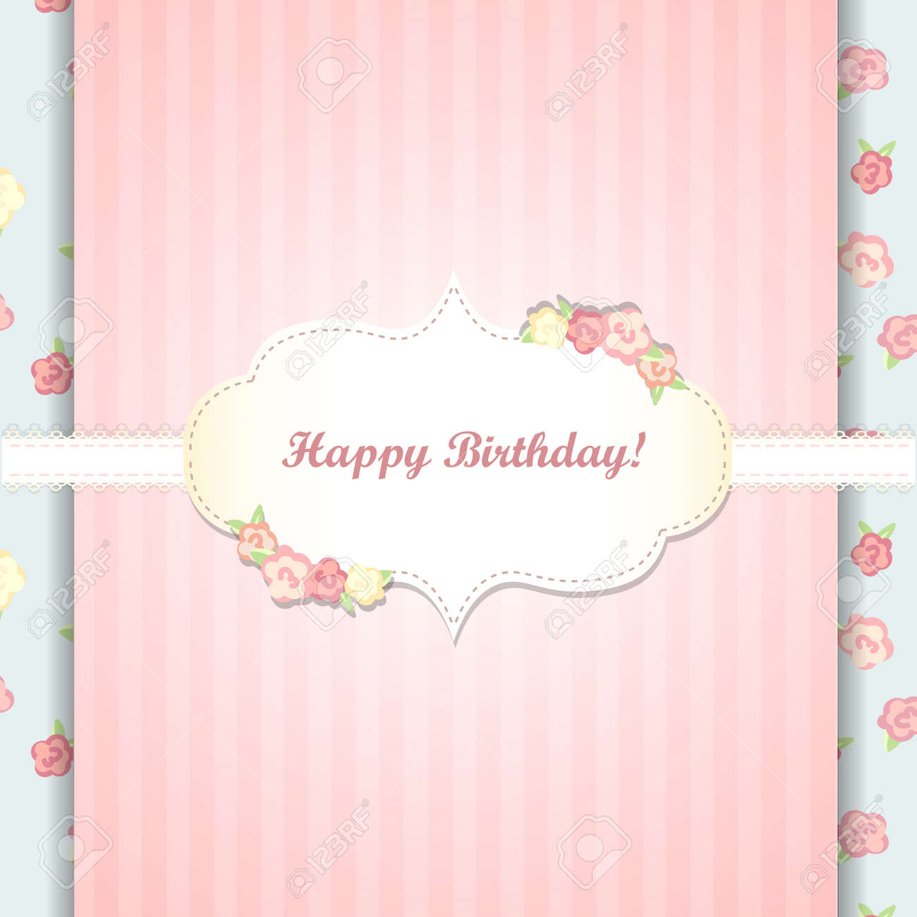 Shabby Deutsch Cute Blue And Pink Happy Birthday Card Shabby Chic