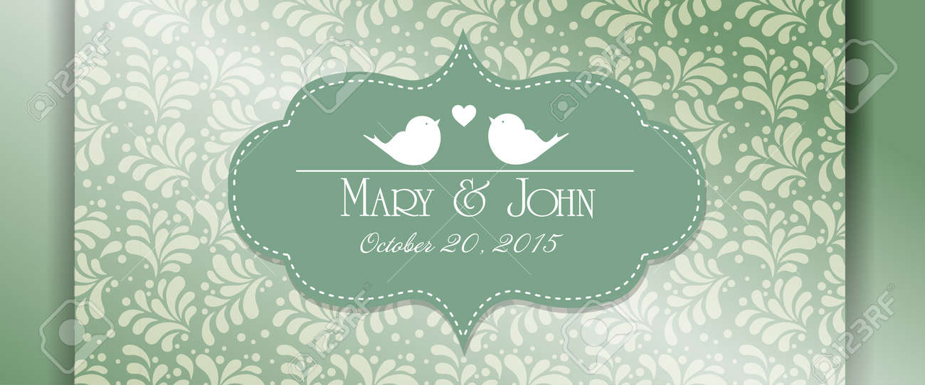 Wedding Invitation Card With Abstract Floral Background Pistachio