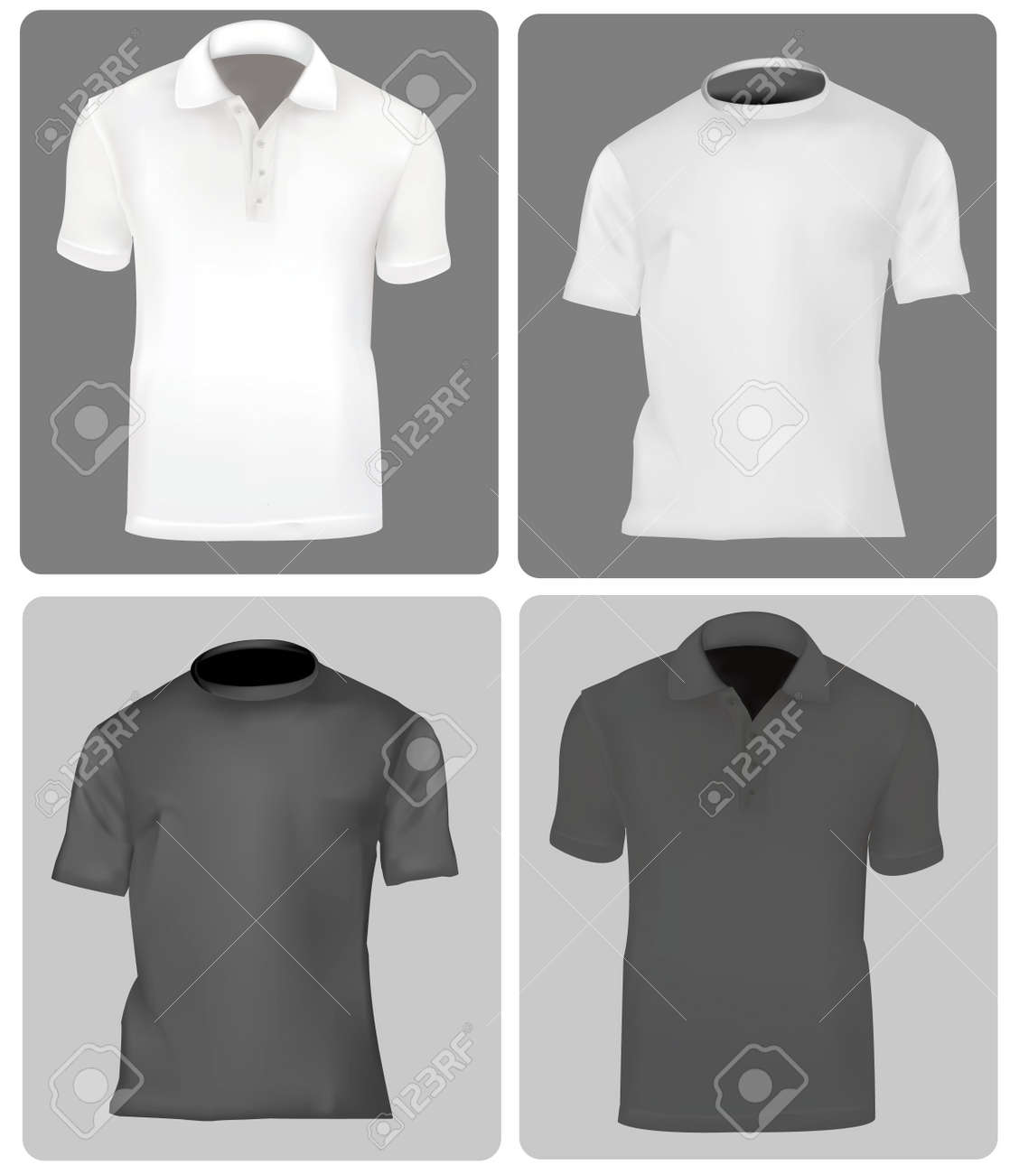 Black t shirt with white collar -  White Collar Black T Shirt With Collar Template Two Polo Shirts Download