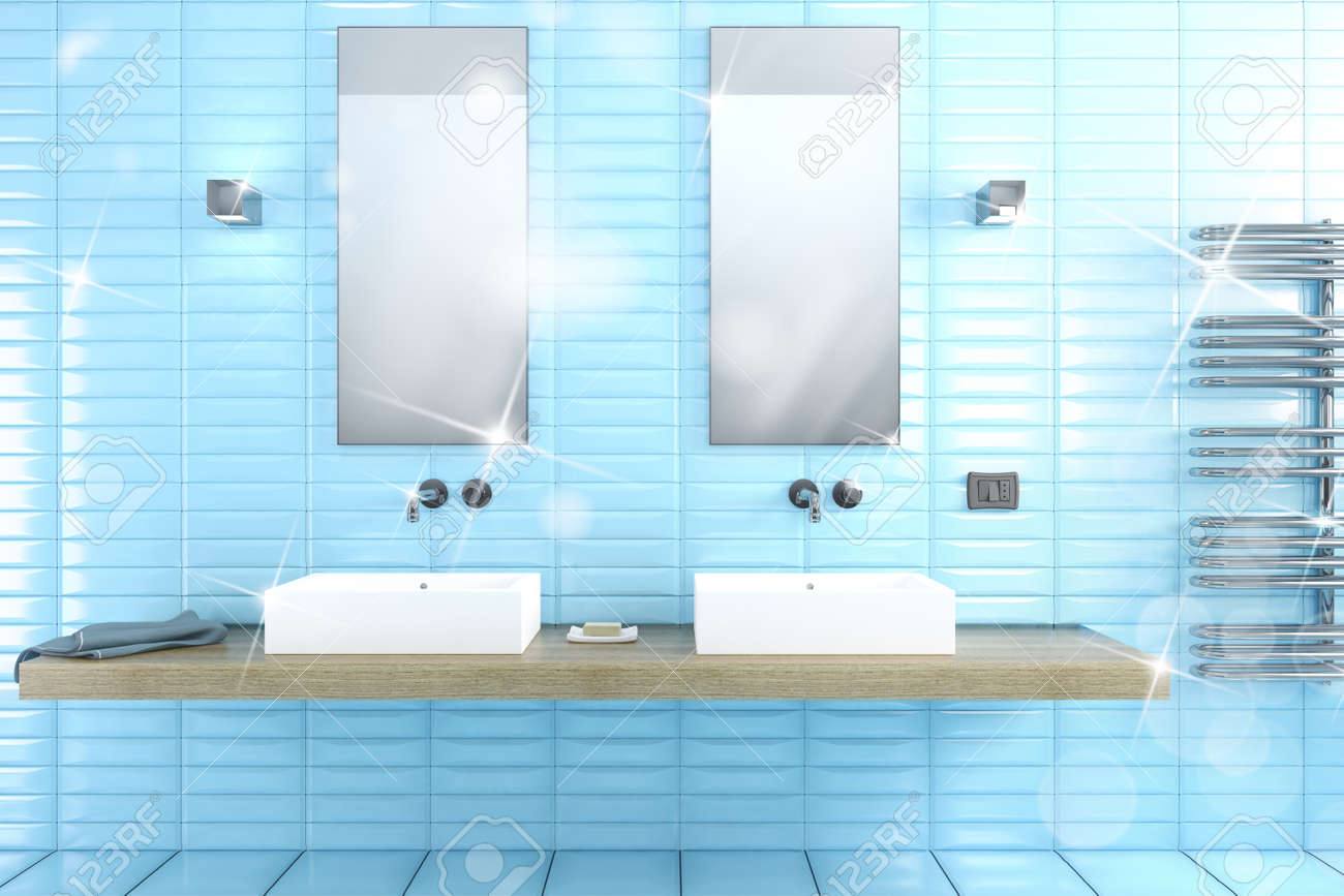Bathroom With Mirrors Clean Shiny Bathroom With Mirrors And Sinks 3d Rendering