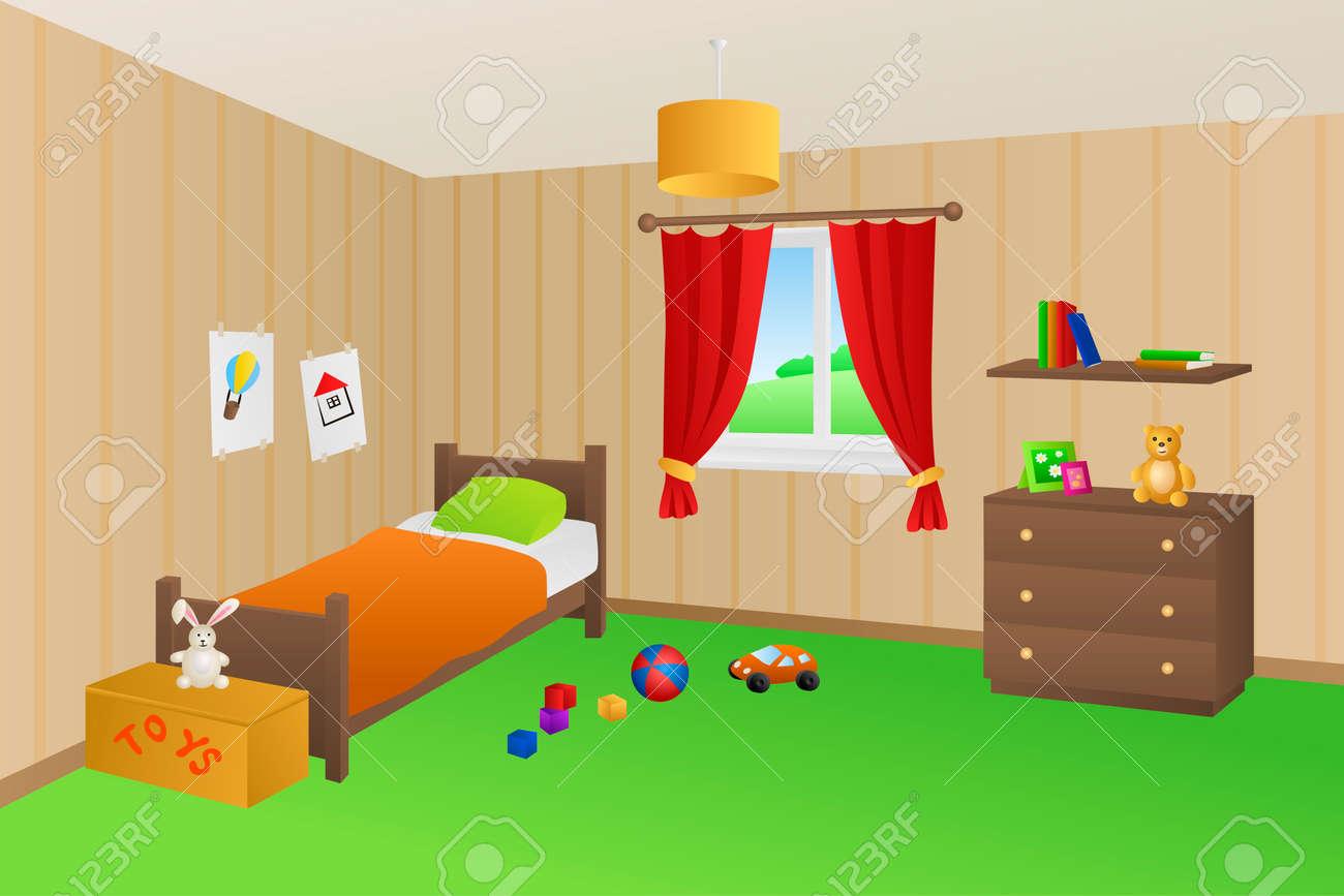 Chambre D Enfant Moderne Jouets Beige Lit Vert Oreiller Orange Fenêtre  Illustrations