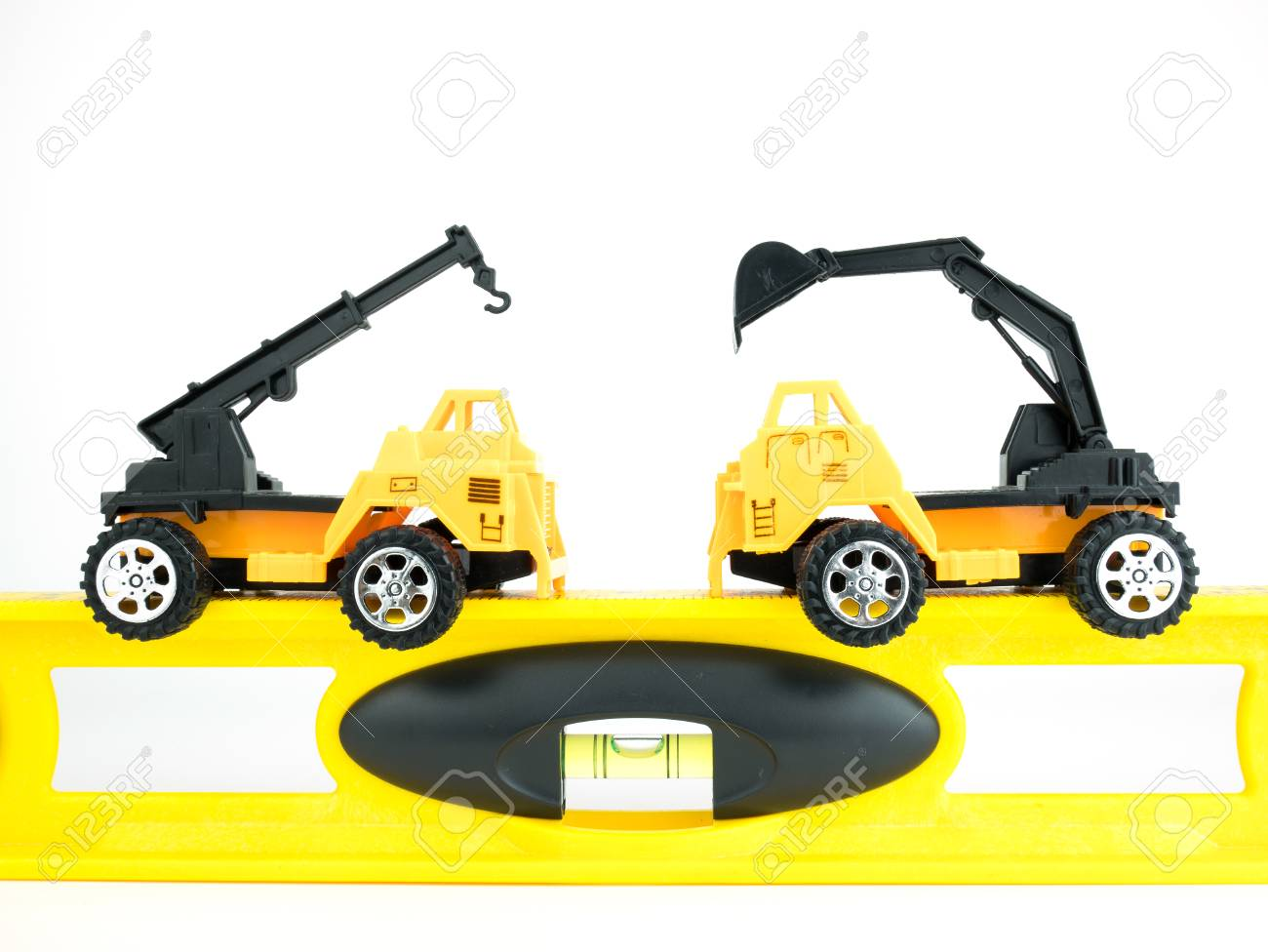 Digger Toy Toy Crane Car And Mechanical Digger With Building Level On White
