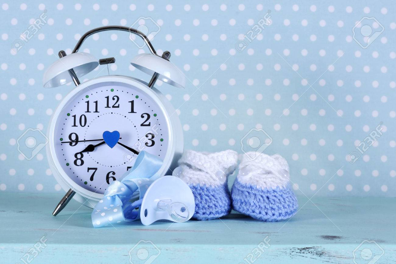 Shabby Chic Vintage Nursery Baby Boy Nursery Blue And White Booties And Clock On Aqua Vintage